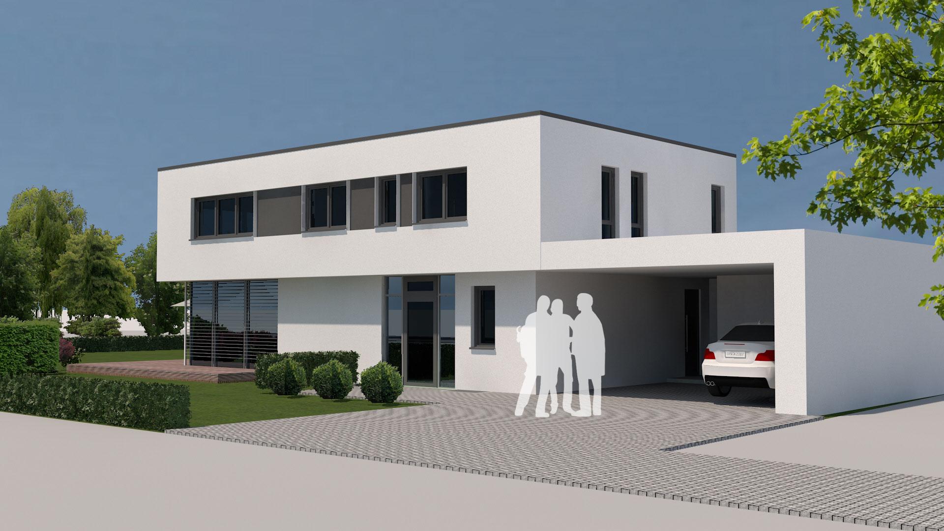 Neubau modernes flachdachhaus mit carport in wei enburg for Flachdachhaus modern