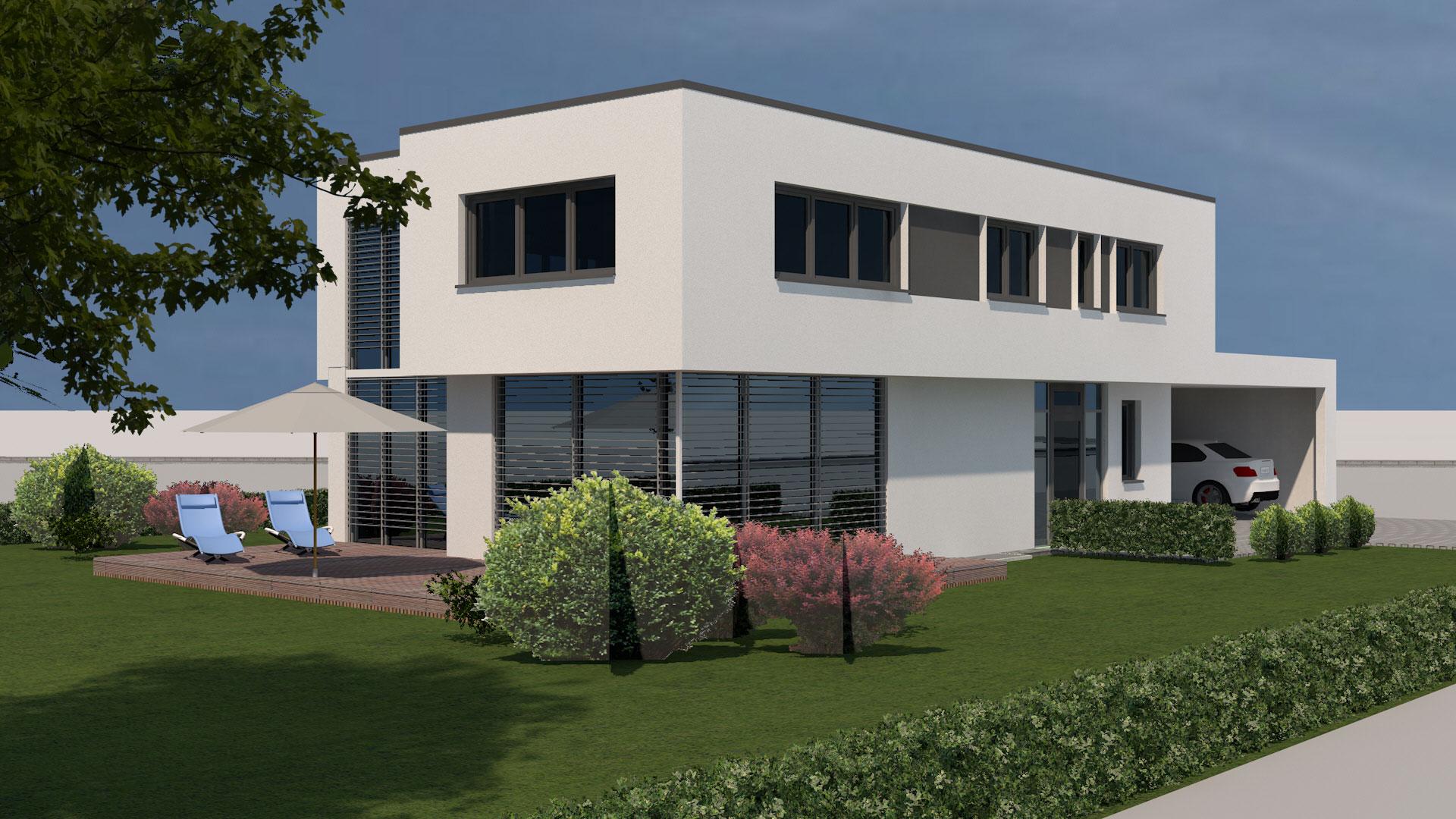 Neubau modernes flachdachhaus mit carport in wei enburg for Modernes haus raumaufteilung