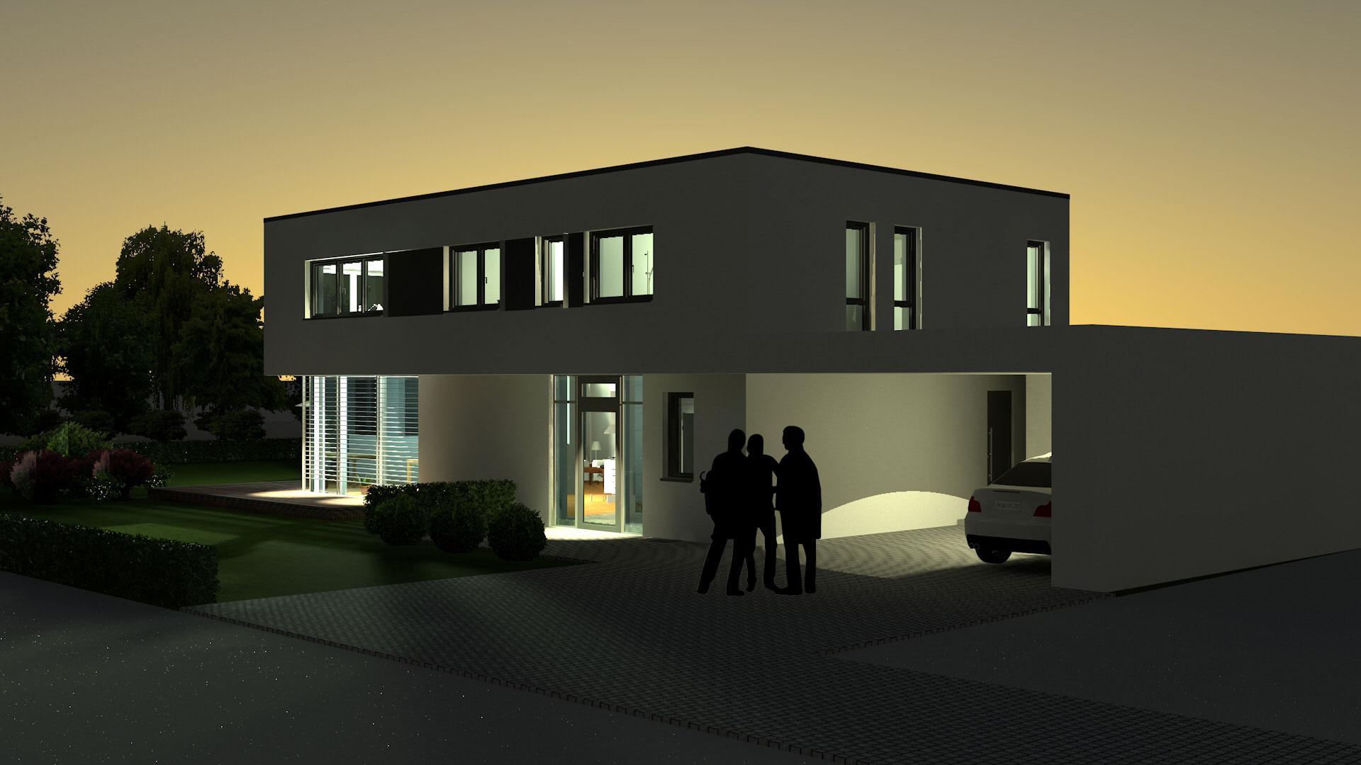 Neubau modernes Flachdachhaus mit Carport in Weißenburg   hochplan