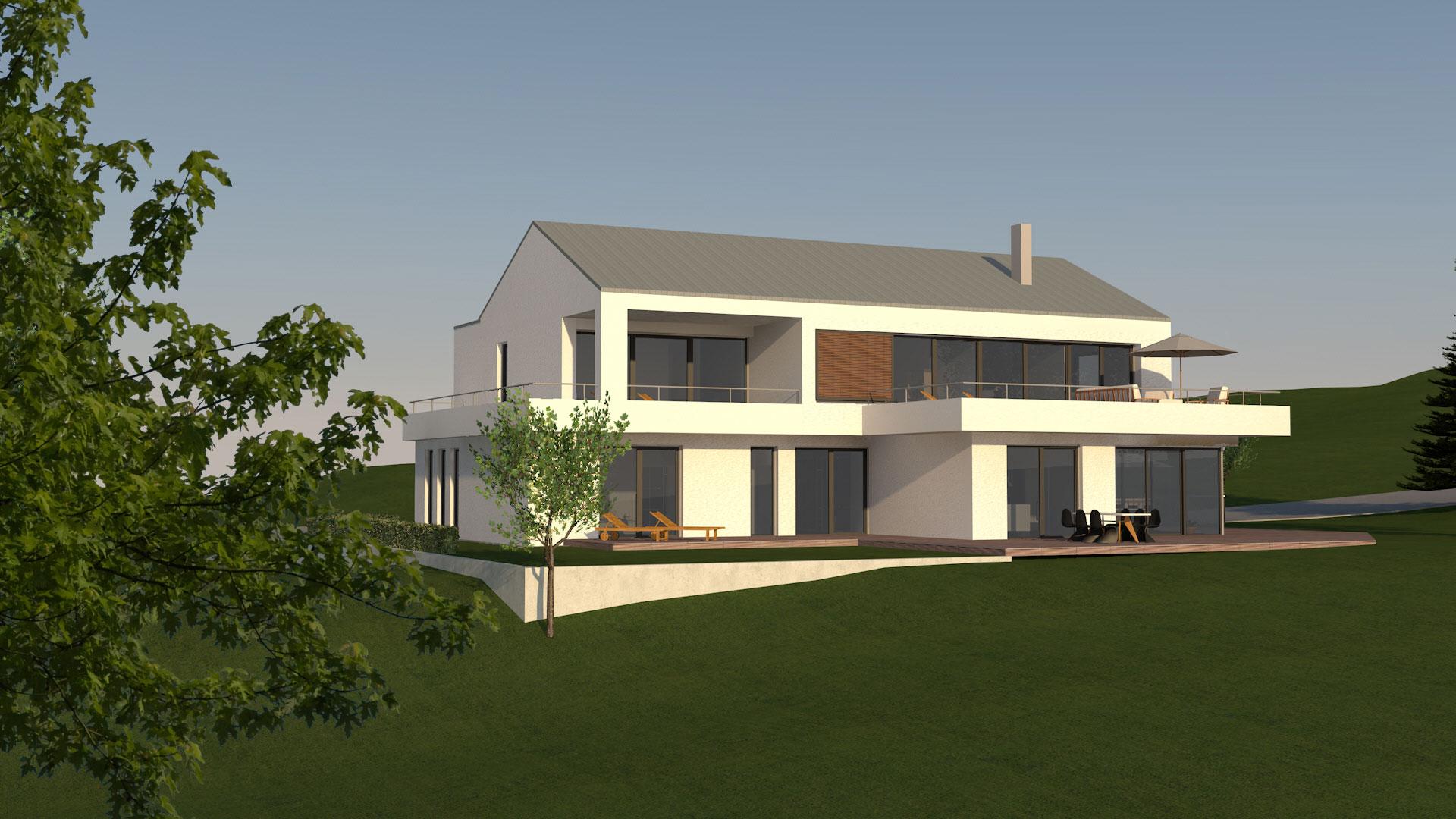 neubau moderne villa mit satteldach in wei enburg hochplan. Black Bedroom Furniture Sets. Home Design Ideas